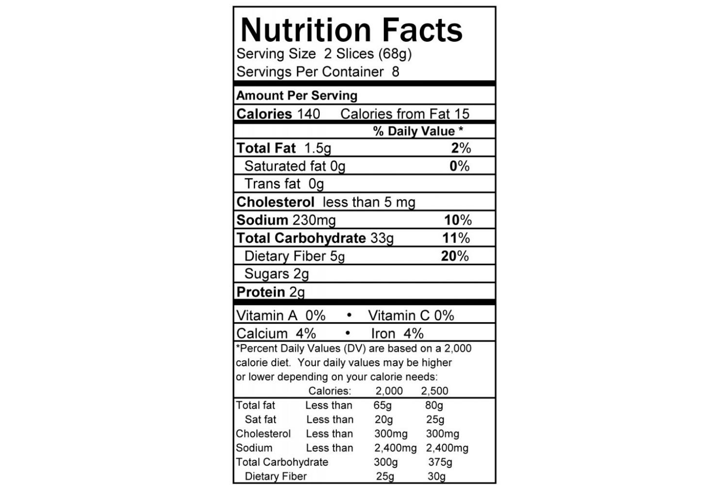 nutrition facts label american bakers association